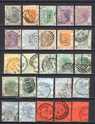 Hong Kong China 1863-1882 Qv Selection Of Used Stamps Pmk Interest