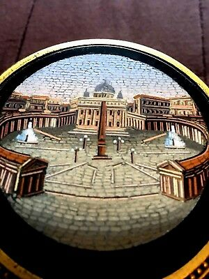 Rare antique collection micromosaic box  19th signed C.ROCCHEGGIANI roma italy