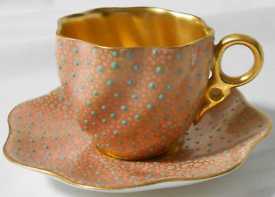 Exceptional Coalport Gilded Jeweled Miniature Cup And Saucer