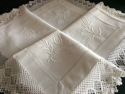 Gorgeous Antique White Tablecloth ~ Hand Embroidered Whitework ~ Thistles/lace