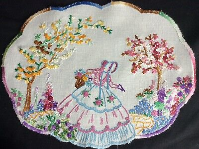 Gorgeous Vintage Linen Hand Embroidered Tablemat  ~ Crinoline Lady/flora
