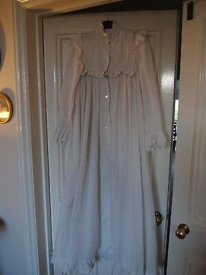 Laura Ashley Vintage White And Cream Long Cotton Dressing Gown Size 12 vgc