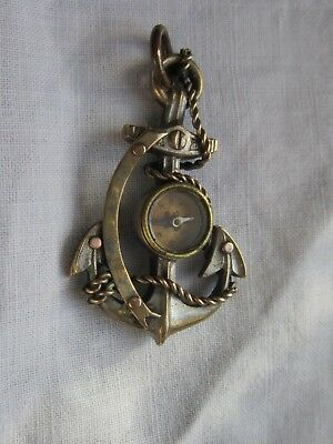 anchor shape compass fob edwardian silver plate on gilt metal