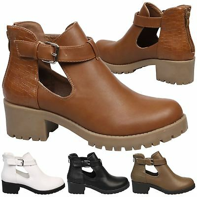 4ebccfa62406 Tristana Womens Low Mid Block Heels Chunky Cut Out Ankle Boots Ladies Shoes  Size