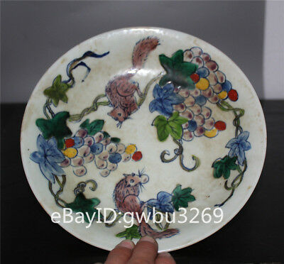 Rare China Old color Porcelain hand painting Squirrel grape Plate w Guangxu Mark