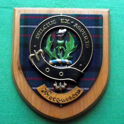 Vintage Scottish Hand Carved Oak Clan Ferguson Tartan Plaque Crest Shield