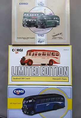 Three Sets of Corgi Coaches/Bus (Limited Edition) Die-Cast Models.