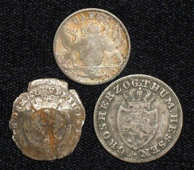 3 Silver Coins from the German States.  1776-1847.  No Reserve!