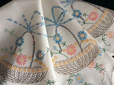 Lovely Vintage Linen Hand Embroidered Tablecloth ~ Floral Baskets/ribbons