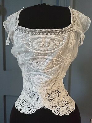 c. 1880s / Earlier ? Corset Cover / Camisole With Whitework And Alencon Lace