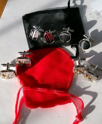 Job lot 4 x Sets  Cufflinks, 2 Steampunk. Gift Bags included