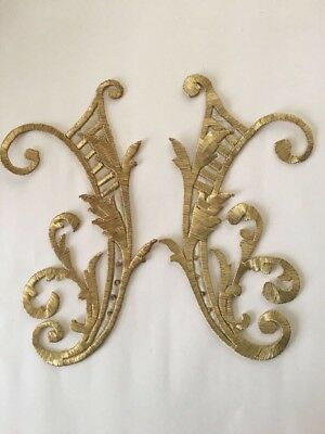 Antique Ottoman Turkish Gold Metallic Hand Embroidery F Applique Initial ' H '