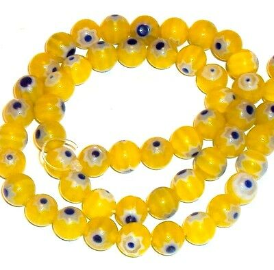 """G864f Yellow with Blue Blue Flower 8mm Round Millefiori Glass Beads 15"""""""