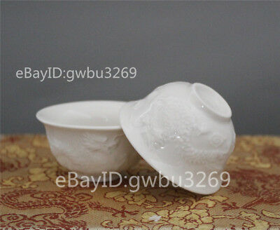 A pair Chinese Porcelain Bowl Handwork Carved Dragon Kung Fu Tea cups