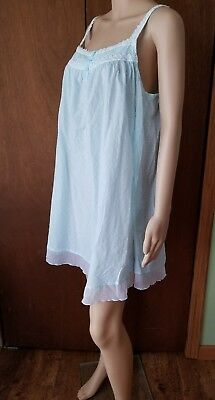 Adonna Baby Doll Nightie. Large. Blue Dotted Swiss. 100% Cotton.