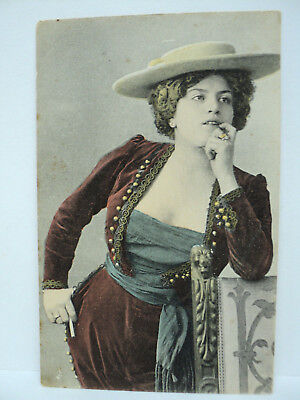 VINTAGE CPA ORICELLY ? MEATY FLEURON ACTRICE COURTISANE SENSUALITE   c. 1905