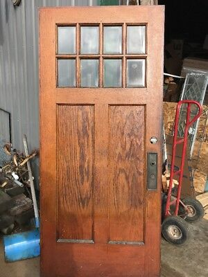 An 452 antique beveled glass entry door eight light arts and crafts 35 5/8 X 79.