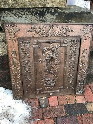 Antique Cast-Iron Fire Front Lady With Cherubs 30.5 W By 30.25 Hi