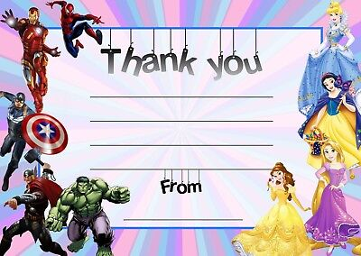 Boys & Girls Super Hero Princess Birthday Thank You Notes For My Present Gift