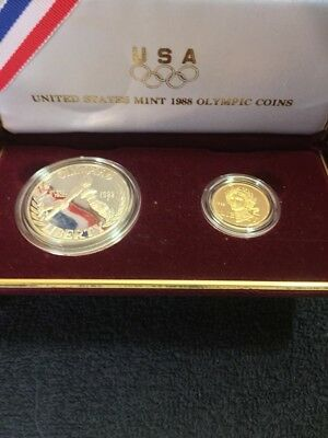 1988 US Mint Olympic 2 Coin Commemorative Proof Set, $5 Gold and $1 Silver
