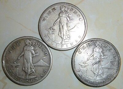 Lot of 3 - PHILIPPINES 1 PESO SILVER COINS 1908 1909(2)