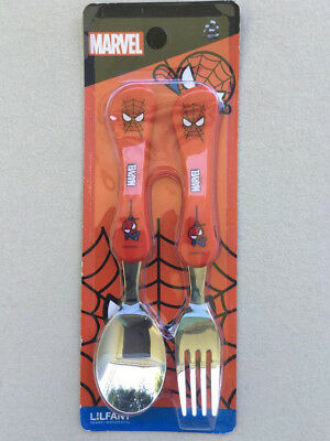MARVEL SPIDERMAN Kids Stainless Spoon and Fork Set by LiLFANT Made in Korea