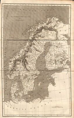 1809 Antique Map - Sweden, Denmark And Norway