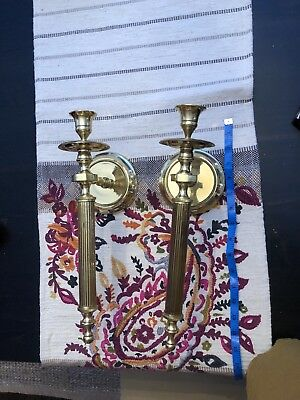 Pair Vintage Antique Solid Brass Candle  Candlestick Holder Wall Sconces Ornate