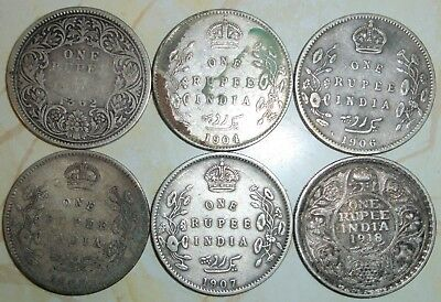 Lot of 6 - INDIA ONE 1 RUPEE SILVER COINS 1862 1904 1906(2) 1907 1918
