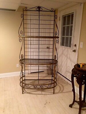 Great Vintage French Wrought Iron & Brass Bakers Rack 82""