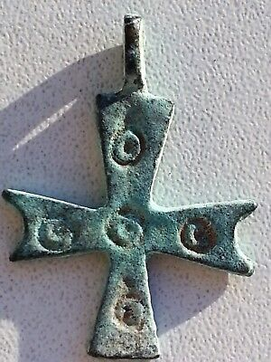 Ancient Byzantine Bronze Cross Pendant. 38mm. / 3,85gr.