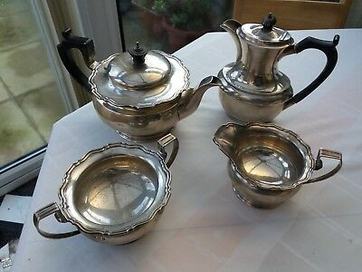 SOLID SILVER 1920s TEA SET. English 4 piece Nearly ANTIQUE
