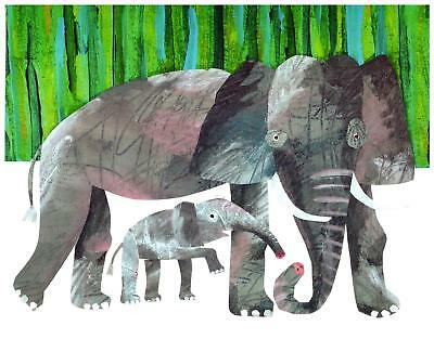 Eric Carle Print Elephant Mother and Baby Wall Art Nursery Toddler Kids decor