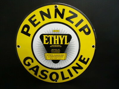 Vintage 1929 Pennzip Gasoline Porcelain Gas Service Station Pump Sign
