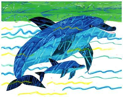 Eric Carle Print Dolphin Mother and Baby Wall Art Nursery Toddler Kids decor