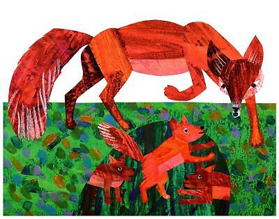Eric Carle Print Fox Mother and Babies Wall Art Nursery Toddler Kids decor