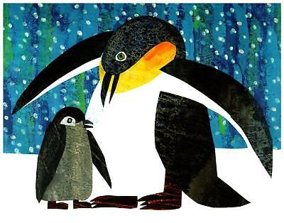 Eric Carle Print Penguin Mother and Baby Wall Art Nursery Toddler Kids decor