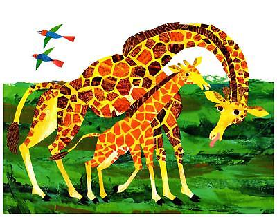 Eric Carle Print Giraffe Mother and Baby Wall Art Nursery Toddler Kids decor