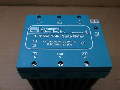 RSDA-660-30-3D0 Continental Industries NEW 30A 3 Phase SSR Solid State Relay