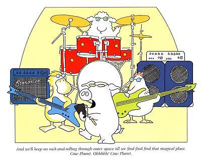 "Boynton Print Rock n Roll Pig Sheep Chicken Duck Cow Planet ""Need More Cowbell"""