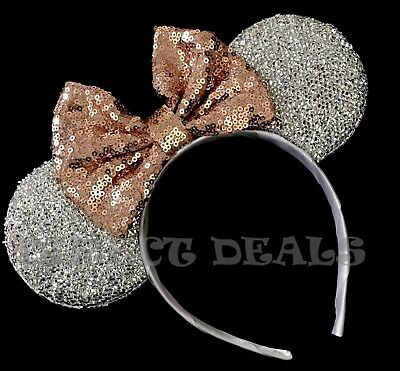 Minnie Mouse Ears Headband Shiny Silver Sparkly Sequin Rose Gold Bow Party Favor