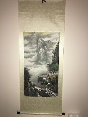 Large Rare Fine Chinese Scroll Hand Painting Landscape Marked by ' Jia Zhen '