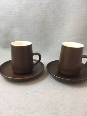 Honiton Pottery Coffee Cups & Saucers X 2 Retro Brown