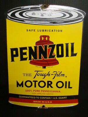 Vintage Old Pennzoil Motor Oil Gasoline Porcelain Gas Service Station Sign