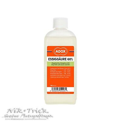ADOX Acetic Acid 60% 500ml Concentrate Stop Bath ~ New Product!