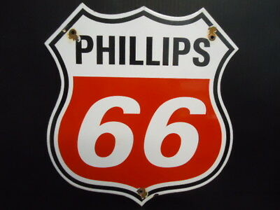Vintage 1940's  Phillips 66 Gasoline Porcelain Gas Service Station Pump Sign