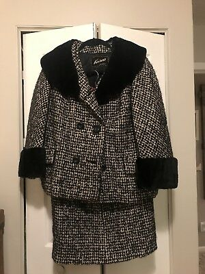 Vintage Women's Suit with Fur Collar and Cuffs