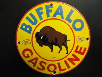 Vintage 1936 Buffalo Gasoline Porcelain Gas Service Station Pump Sign