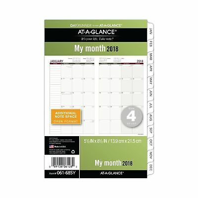 AT-A-GLANCE Day Runner Monthly Planner Refill, January 2018 - December 2018,