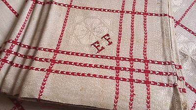 6x rare unused red checkered linen kitchen Towels or rustic napkins woven flower